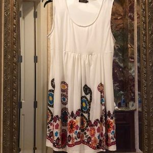 Reborn XL white Colorful Summer dress Knee Length